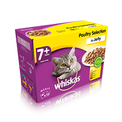 WHISKAS 7+ Poultry Selection in Jelly 12 x 100g (1.2kg)