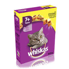 WHISKAS<sup>®</sup> 7+ Years Cat Complete Dry with Chicken 825g