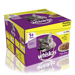 WHISKAS<sup>®</sup> 1+ Years Cat Pouches Poultry Selection in Jelly 24 x 100g Super Pack