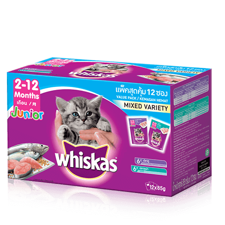 Whiskas<sup>®</sup> Pouch Multipack Junior - Makanan Anak Kucing Mix Flavour (Tuna & Makarel)