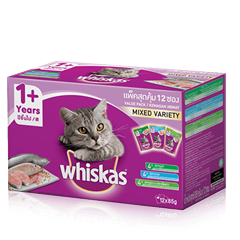 Whiskas® Pouch Multipack Dewasa 1+ Mixed Flavour (Ocean Fish, Tuna, Tuna & WhiteFish) Makanan Kucing