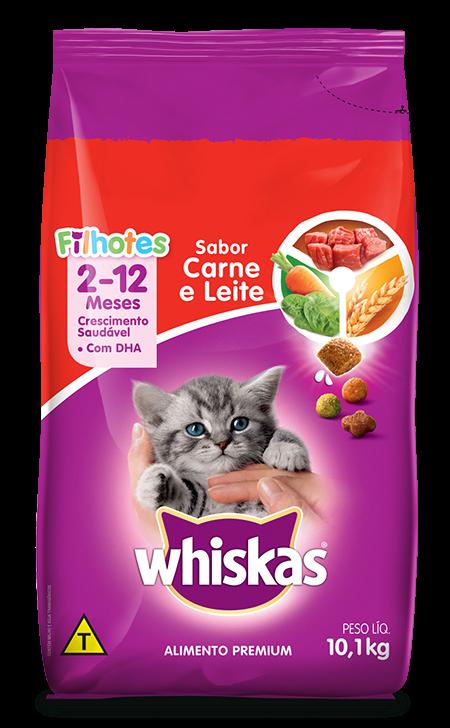 Ração Seca para Gatos Filhotes WHISKAS® Sabor Carne e Leite 10,1kg