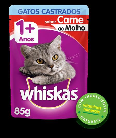 Sachê de Ração úmida para Gatos Castrados WHISKAS® Adulto Sabor Carne ao Molho