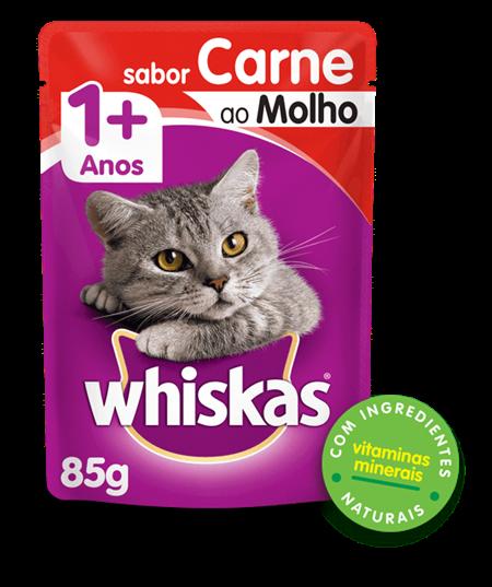 Sachê de Ração úmida para Gatos WHISKAS® Adulto Sabor Carne ao Molho