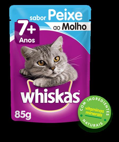 Sachê de Ração úmida para Gatos Idosos WHISKAS® Sênior Adulto Sabor Peixe ao Molho