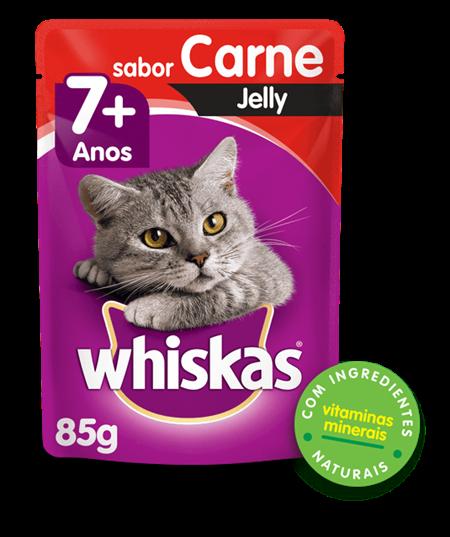 Sachê de Ração úmida para Gatos Idosos WHISKAS® Senior Adulto Sabor carne Jelly