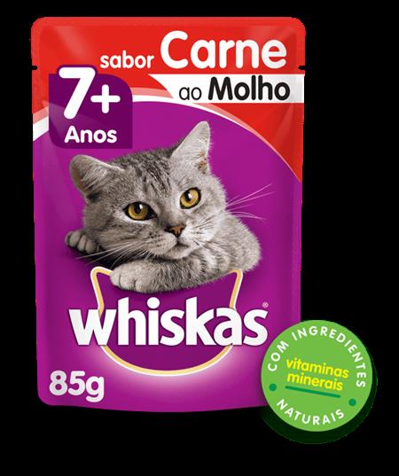 Sachê de Ração úmida para Gatos Idosos WHISKAS® Senior Adulto Sabor Carne ao Molho