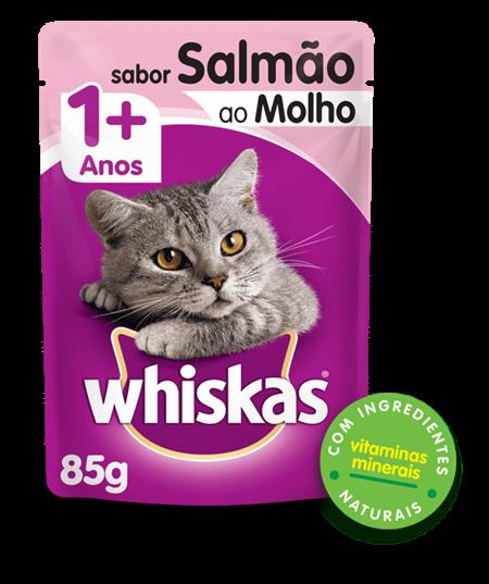 Sachê de Ração úmida para Gatos WHISKAS® Adulto Sabor Salmao ao Molho