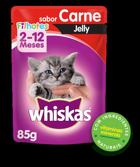 Sachê de Ração úmida para Gatos Filhotes WHISKAS® Sabor carne Jelly