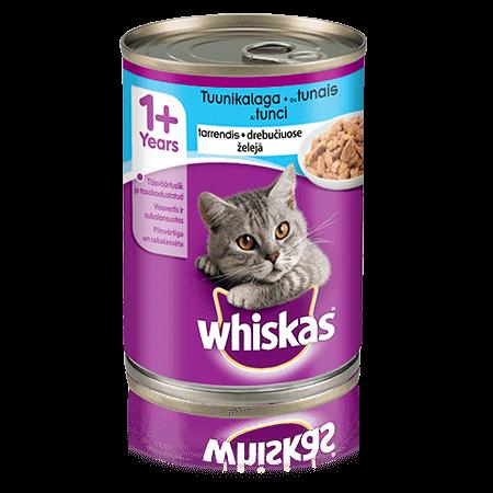 Whiskas 1+ konservuotas kačių ėdalas su tunais, 400 g skardinė