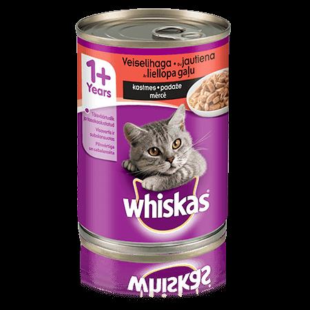 Whiskas 1+ konservuotas kačių ėdalas su jautiena, 400 g skardinė