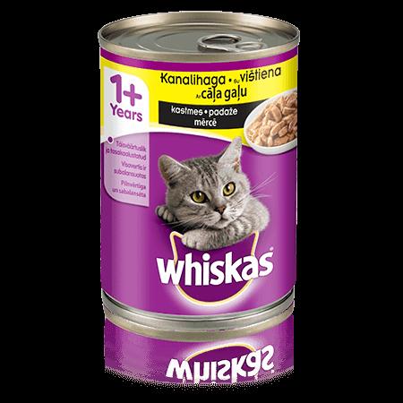 Whiskas 1+ konservuotas kačių ėdalas su vištiena, 400 g skardinė
