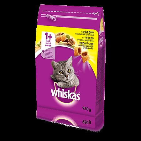 Whiskas 1+ sausas ėdalas su vištiena, 950 g