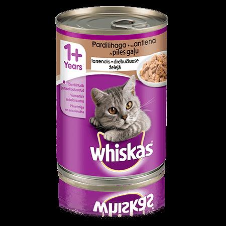 Whiskas 1+ konservuotas kačių ėdalas su antiena, 400 g skardinė