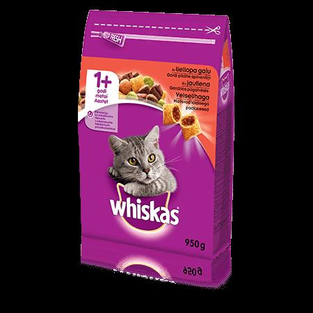Whiskas 1+ sausas ėdalas su jautiena, 950 g