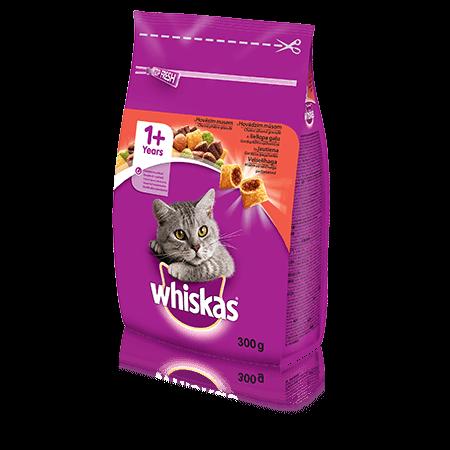 Whiskas 1+ sausas ėdalas su jautiena, 300 g