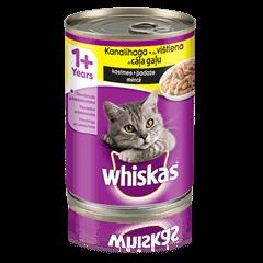 Whiskas<sup>®</sup> 1+ konservuotas kačių ėdalas su vištiena, 400 g skardinė