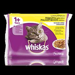 Whiskas<sup>®</sup> 1+ konservuotas kačių ėdalas, paukštienos rinkinys, 4 maišeliai