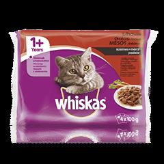 Whiskas<sup>®</sup> 1+ konservuotas kačių ėdalas, mėsos rinkinys, 4 maišeliai