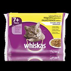 Whiskas<sup>®</sup> 7+ konservuotas kačių ėdalas, paukštienos rinkinys, 4 maišeliai