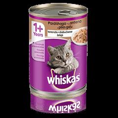 Whiskas<sup>®</sup> 1+ konservuotas kačių ėdalas su antiena, 400 g skardinė