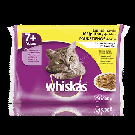 Whiskas 7+ kaķu barības Mājputnu Izlase 4-paka