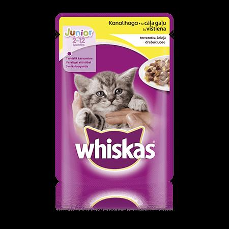 Whiskas Junior kaķu barība ar cāļa gaļu