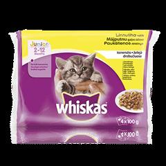Whiskas<sup>®</sup> Junior kaķu barības Mājputnu Izlase 4-paka