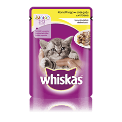 Whiskas<sup>®</sup> Junior kaķu barība ar cāļa gaļu