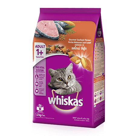Gourmet Seafood Dry Cat Food from Whiskas for Adult 1+ Cats