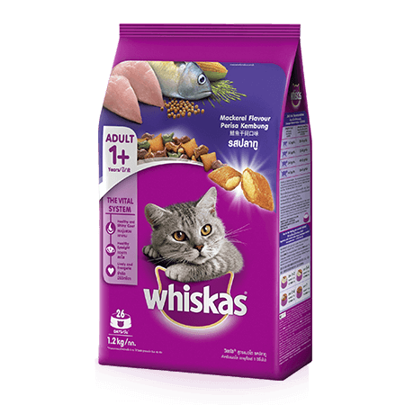 Mackerel Dry Cat Food from Whiskas for Adult 1+ Cats