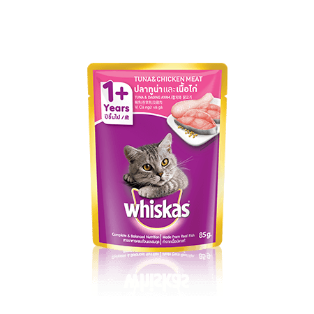 Chicken & Tuna Wet Cat Food Pouch from Whiskas for Adult 1+ Cats