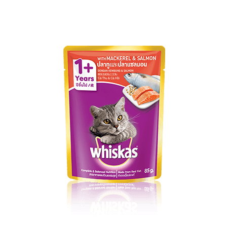 Mackerel & Salmon Wet Cat Food Pouch from Whiskas for Adult 1+ Cats