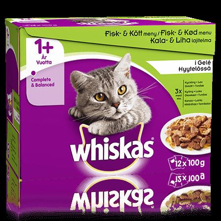 Whiskas® 1+ Fisk-& Kjøttmeny i gelé