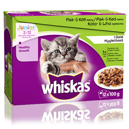 Whiskas®Junior Fisk-& Kjøttmeny i Gelé