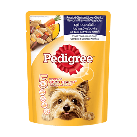 PEDIGREE<sup>®</sup> Pouch Adult Roasted Chicken & Liver Chunks in Gravy with Vegetables