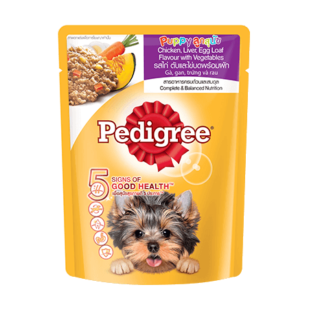PEDIGREE<sup>®</sup> Pouch Puppy Chicken, Liver, Egg Loaf with vegetables