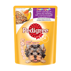Pedigree® Pouch Puppy Chicken, Liver, Egg Loaf with vegetables