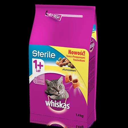 Whiskas sucha karma Sterile z kurczakiem <br/>1,4 kg. 1+