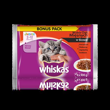 Whiskas wybór dań mięsnych w sosie. <br/>2-12 miesięcy