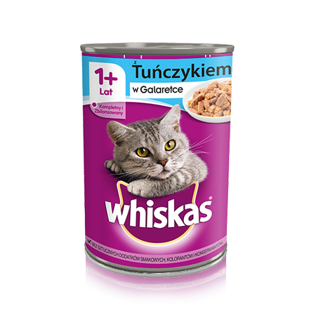 Whiskas puszka z tuńczykiem w galeretce. 1+