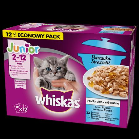 Mokra karma dla kociąt WHISKAS® Junior Potrawka Smaki Rybne w Galaretce 12x85 g
