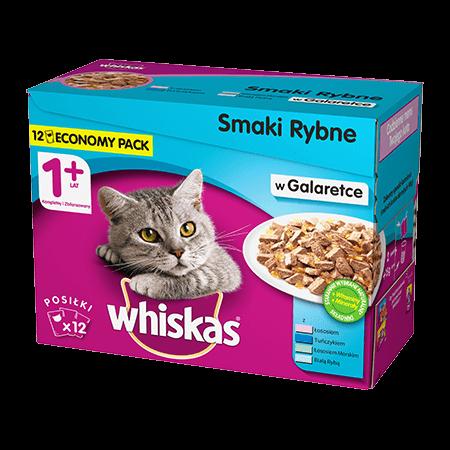 Mokra karma dla kota 1+ WHISKAS® Smaki Rybne w Galaretce 12x 100 g