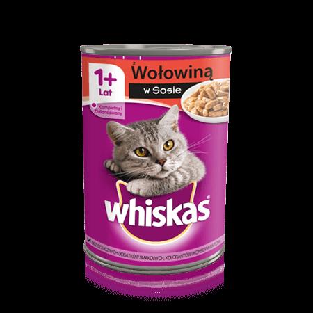 Whiskas® puszka z wołowiną w sosie. 1+