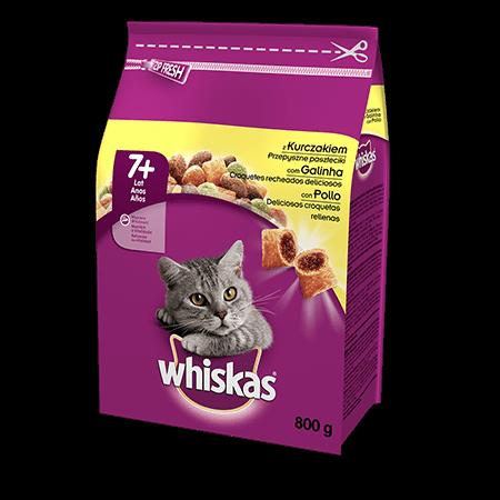 Karma sucha dla kota 7+ WHISKAS® z Kurczakiem 800 g