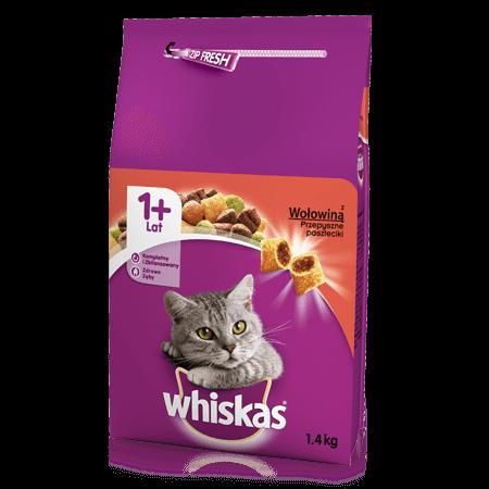 Whiskas® sucha karma z wołowiną 1,4 kg. 1+