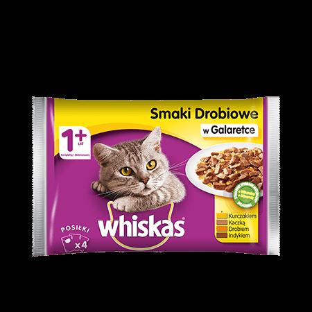 Mokra karma dla kota 1+ WHISKAS® Smaki Drobiowe w Galaretce 4x 100 g