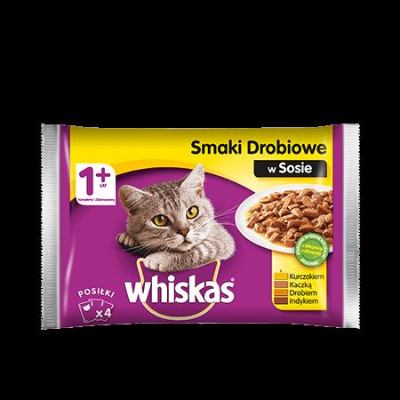 Mokra karma dla kota 1+ WHISKAS® Smaki Drobiowe w Sosie, 4x 100 g
