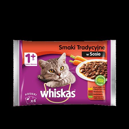 Mokra karma dla kota WHISKAS® Smaki Tradycyjne w Sosie, 4x 100 g