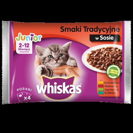 Karma mokra dla kociąt WHISKAS® Junior Smaki Tradycyjne w Sosie, 100 g